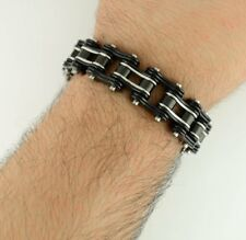 """Fancy Silver Clasp Hell Cat Moto Gear 8"""" King Bracelet Black Heavy Metal Design"""