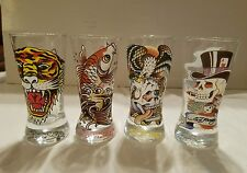 ED HARDY SET OF 4  SHOT GLASSES  LOT COLLECTIBLE TOP HAT SKULL