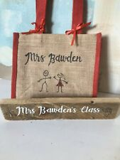 Christmas Teacher Gift Set Personalised Bag Plaque