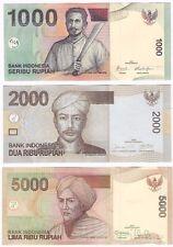 Indonesia 1000 2000 5000 Rupiah 2009 2013 UNC Banknote Set - 3 pcs