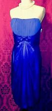 Royal Blue Satin Cruise Social Dance Cocktail Dress Empire Waist 14 NWT