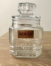 "Vintage KOEZE'S APOTHECARY CANISTER JAR Glass 9-1/2"" Air Tight Seal 60 oz MINT"