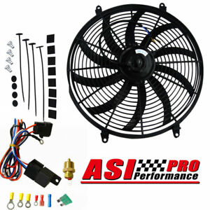 16'' INCH THERMO FAN&REPLAY 12V LOW PROFILE CHROME HIGH PERFORMANCE MOUNTING KIT