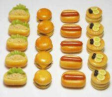 20 Mixed Dollhouse Miniature Food * Doll Mini Tiny Bakery Burgers Pancakes