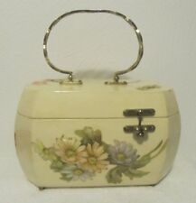 Vicki Jean Ivory Wood Purse / Handbag 3-D Flowers Birds Gold Tone Metal Handle