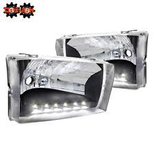 99-04 Ford F250 F350 Super Duty Excursion Black Housing Headlights w/LED Running