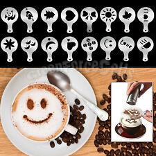 16pcs Coffee Cake Cupcake Cappuccino Latte Decorating Stencil Template Mold Tool