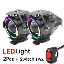 1 Pair 125W CREE U7 LED Motorcycle Headlight Driving Fog Light Spot Lamp +Switch