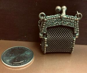 Antique French Fashion Doll Metal Mesh Purse or Handbag
