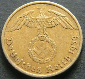 WWII GERMAN 1939 - A 5 REICHSPFENNIG THIRD REICH NAZI GERMANY COIN RL2172