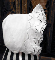 NWT Will'Beth White Knit Lace Baby Bonnet Newborn Girls Hat Boutique Ribbon