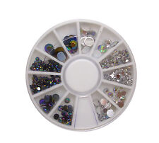 6cm NAIL ART GEMS JEWELS DESIGN CRAFT NAILS WHEEL ROUND MIX GEM IRIDESCENT CLEAR