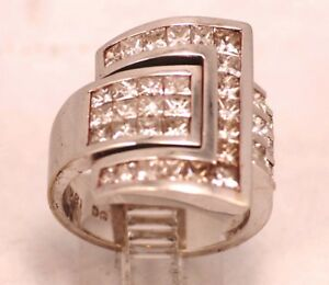 "18 karat white gold, size #7 DIAMOND ""Buckle"" RING"