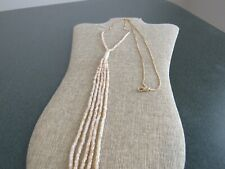 Canvas Jewelry Y chain Necklace bead tassel pendant gold Tone - New