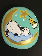 Hand painted river rock art stone painting Snoopy Woodstock stars moon cloud