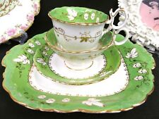 1840'S ANTIQUE Coalport tea cup and saucer trio w/ cake plate teacup green ivy