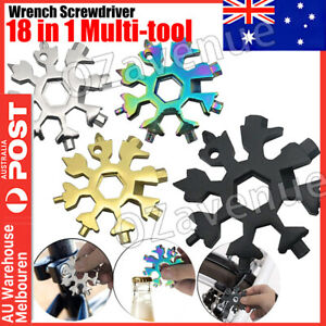 18 In 1 Stainless Tool Multi-Tool Portable Snowflake Shape Key Chain Screwdriver