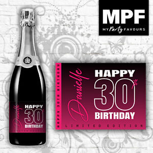 Personalised Birthday Champagne Bottle Label (colours) - 18th, 21st, 30th, 40th