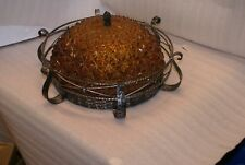 Vintage Spanish Goth Wrought Iron Amber Glass Ceiling Fixture