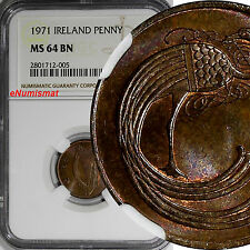 Ireland Republic Bronze 1971 1 Penny NGC MS64 BN TOP GRADED BY NGC !  KM# 20