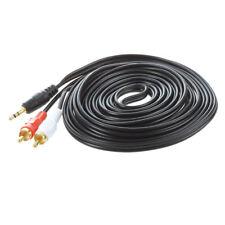 4.7M 3.5mm Macho a 2 RCA Macho Jack Cable de Audio Video AV Negro B8L4
