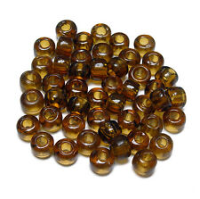 9mm Transparent Topaz color Glass Crow Pony Roller Beads 100pc