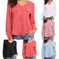 Women Chiffon Button Up Long Sleeve Shirt V Neck Loose Casual Top T Shirt Blouse