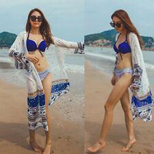 Sexy Women Boho Kimono Cardigan Chiffon Long Beach Cover Up Tops Shirt Dress