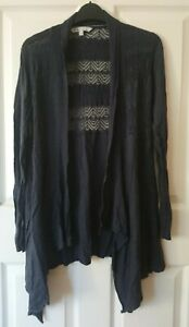 Fat Face Drape Cardigan Size 12 Navy Blue Cotton/Modal with embroidery