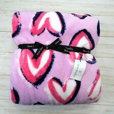 New Vera Bradley Iced Pink Throw Blanket 50 x 80 Hearts Navy Blue White