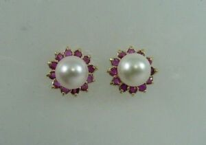Akoya 6.7mm White Pearl Earring and Ruby 0.80ct Jackets 14k Yellow Gold