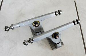 """Caliber longboard trucks 180mm hanger 10"""" wide reverse kingpin 50-degree silver"""