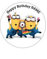 Minion personalised edible Image cake topper real icing sheet 19cm #149