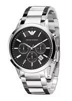 ••• Emporio Armani Herren Armbanduhr AR2434 Chronograph  Silber Schwarz Neu •••