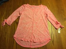T by TALBOTS Womens Petite 3/4 Sleeve Pink Space Dyed T-SHIRT Tunic Size P NWT