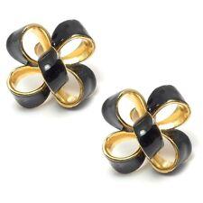 Kenneth Jay Lane SALE! Gold Plated & Black Enamel Bow Clip-On Earrings(RRP £45)