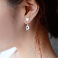 Fashion Rhodium Women Girl Beads Stud Earrings Pearl Zircon Silver Plated