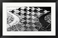 M.C. Escher Day and Night, Framed W/Mat 30x20