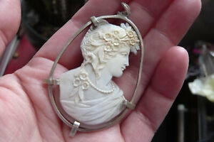 Victorian Carved Flora the Greek Goddess Shell Cameo and Silver Pendant