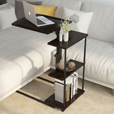 Bedside Laptop Table Rolling Stand PC Desk 3 Tier Shelves Adjustable Height Tray