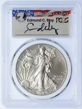 2011-W $1 Burnished Silver Eagle SP70 PCGS Ed Moy signed