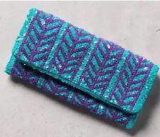 Anthropologie Women's Beaded Arrow Clutch Wallet Bag Teal Purple Retails $78.00