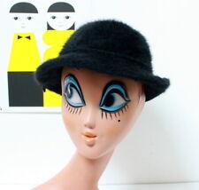 Chapeau cloche vintage en angora noir