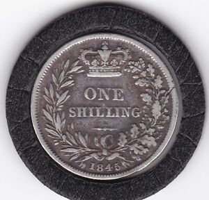 1845  Early   Queen   Victoria   Shilling  (1/-)  Silver  (92.5%)   Coin