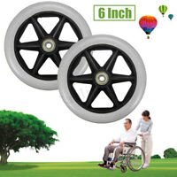 2× Replacement Parts 6'' Front Rear Wheel for Wheelchair Rollator Walker