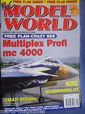 RCMW RC MODEL WORLD JANUARY 1998 CRAZY BEE PLANS VMAR STILETTO