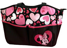 Disney Minnie Mouse Large Tote Diaper Bag Purse Black Pink Hearts NEW