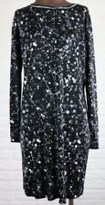 Silk Tory Burch XS Black and White Splatter Abstract Dress Long Sleeve Shift Mod