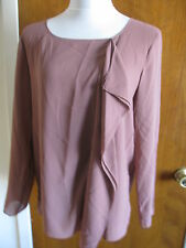 Max Studio women's brown ruffle blouse top size large NWT