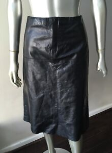 Banana Republic Vintage Genuine Real Leather A Line Black midi Skirt Sz 2